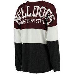 Women's Pressbox Maroon Mississippi State Bulldogs Tri-Sweeper Long Sleeve T-Shirt