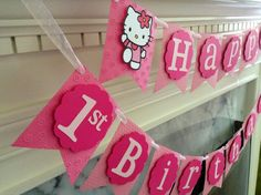 Embossed with dots and flowers this Hello Kitty HAPPY BIRTHDAY banner is a delightful combination of pretty pinks suitable for a girl of any age!