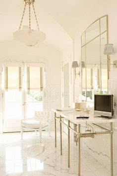 Elizabeth Dinkel - love the chrome and brass mixed together - beautiful floor  - for no cabinetry