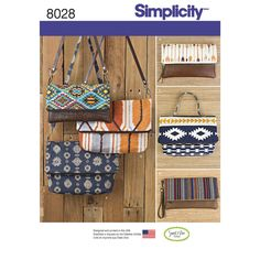 This great everyday bag pattern features large and small cross body or over the shoulder purse, small clutch and wristlet. Sweet Pea Totes for Simplicity. See envelope back tab for more details.