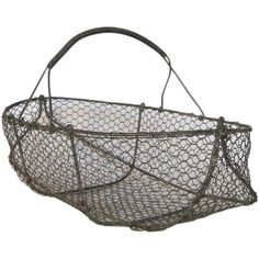 Vintage French Wire Basket / Garden / Harvest / Gathering Basket @rubylanecom #VintageGarden #rubylane