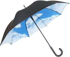 Double canopy umbrella Blue sky & cloud design inside  Black outside canopy  Automatic opening  Black metal shaft  8 Fiberglass ribs  Polyester canopy  Black hook handle      Length: 87cm...