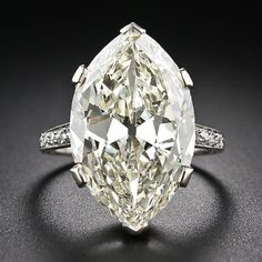 9.55 Carat Marquise/Oval 'Moval' Edwardian Platinum Ring - Wowzer!