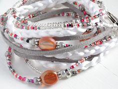 WOMEN'S LEATHER BOHO Wrap Bracelet Beaded Multi Wrap Bracelet Leather Wrap Bracelet White Braided Wrap Boho Layered Bracelet Beaded Bracelet