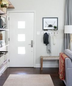 Clever Ways to Fake a Foyer As long as you've got a place to tie your shoes and hang your coat, even the tiniest entryway will feel complete. See more at House Tweaking