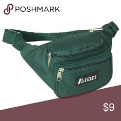 Green fanny pack Price firm! Dimensions: Length: 11.5 Height; 4.5 Width: 3 Made of 100% Polyester; 100% durable polyester Includes interior key ring Measures 11.5 x 4.5 x 3 inches Adjustable up to 52 inch waist size Three zippered compartments for storage everest Bags