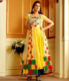 Style like a diva Sonali Bendre . Get exclusive collection of Anarkali Suit only at Shoppers99 Item Code : T-330-1 CATEGORY: Sonali Bendre Yellow Blue Long Semi Stiched Anarkali Suit with Dupatta COLOUR: Yellow, Blue MATERIAL: Poly Georgette