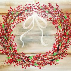 Rustic WREATH with ANY COLOR Berries Acrylic #Painting #CHRISTMAS Art How to Paint a Simple Wreath on CANVAS with acrylics faux WOOD BEGINNER DIY Artwork    Tuesday Night Live on Youtube at 6pm CT #angelafineart