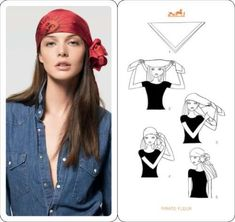 Learn how to wear your Hermes Scarf in different ways. Hermès Scarf Around Your Neck, as a Belt, Clothing Accessory, Handbag and more. Explore how to Tie a Hermes Scarf in stylish ways! Pirate Costume Easy, Homemade Pirate Costumes, Gypsy Costume, Gypsie Costume Diy, Head Scarf Tying, Head Scarf Styles, How To Wear Scarves, Scarf Hairstyles, Pirate Hairstyles