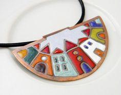 Hundertwasser - enamel necklace - colorful - house - town - color blocking