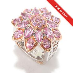 147-485 - Gems en Vogue 3.96ctw Multi Shape Pink Sapphire Flower Ring