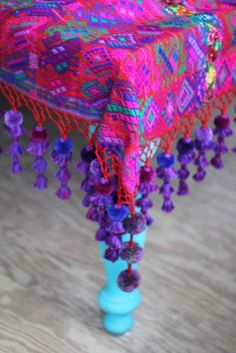Vintage Guatemalan Zute with tassels - love, love, love the purple, hot pink and turquoise together