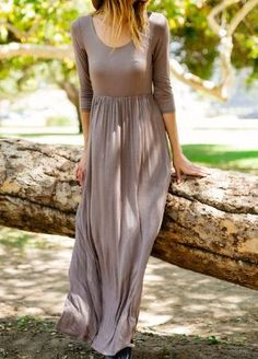 3/4 Sleeve maxi dress with pockets Made in USA S (2-4), M (6-8), L (10-12), XL (14-16)