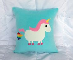 Must have this!!! Unicorn Farting Rainbow Pillow by RAWRthreads on Etsy, $60.00