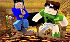 Minecraft: O CHÃO É LAVA! Minecraft, Lava, Youtubers, Nintendo 64, Videos, Amigos, Youtube, Video Clip