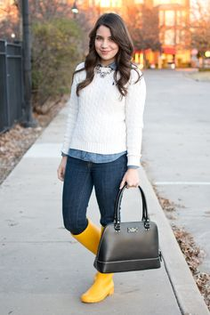 Sweater Weather: Preppy #ootd with ralph lauren sweater, yellow hunter boots, and kate spade