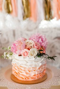 Brides: One-Tiered Pink & White Ombre Cake. A one-tiered pink-and-white ombré wedding cake with ruffled details created by Sweet Emma Lou.