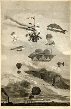 1864 black and white in-text wood engraving of blimps, balloons, and other flying machines from the Victorian and Civil War eras.