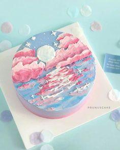 Pretty Birthday Cakes, Pretty Cakes, Beautiful Cakes, Elegant Birthday Cakes, Amazing Cakes, Mini Cakes, Cupcake Cakes, Frog Cakes, Korean Cake