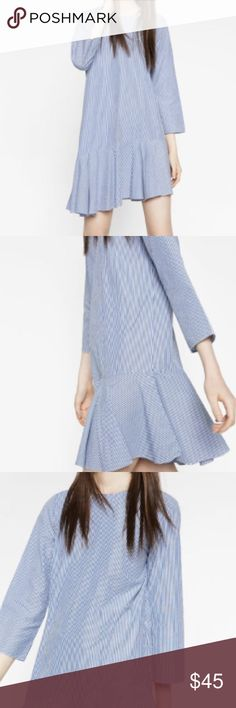 NEW Zara Asymmetric Striped Dress Blue and White ✨BRAND NEW WITH TAGS ✨ Zara Knee Length Asymmetric Frilled Dress. Contains A Round Neck With 3/4 Sleeves and Zip In The Back. 100% Cotton. Size Small. Zara Dresses
