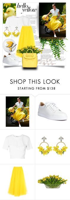 """""""Yellow Spring"""" by mariana-jiva ❤ liked on Polyvore featuring Christian Louboutin, T By Alexander Wang, VANINA, N°21, The French Bee, Alexander McQueen, PopsOfYellow and NYFWYellow"""