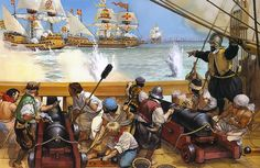 """Angus McBride - """"Martin Frobisher's fight with the Spanish Armada off Portland, 1588""""."""