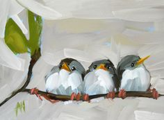 Three Barn Swallows art print by Angela Moulton by prattcreekart