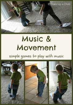 Music and Movement Games for Kids - Simple games to play with music that encourage staying active.  Fun gross motor activities for indoors.