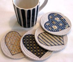 Coasters Coiled Fabric Coasters Mug Rugs Trivets Sewing Hacks, Sewing Crafts, Quilting Projects, Sewing Projects, Mug Rug Patterns, Craft Stalls, Fabric Bowls, Fabric Coasters, Rope Crafts