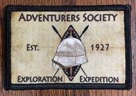 Adventurers Society Morale Patch Adventurers Society, Morale Patch, Patch, Adventurers Club, Pith Helmet, Steampunk,  Safari, Zulu, British, West indies, Africa, Colonial, Velcro,