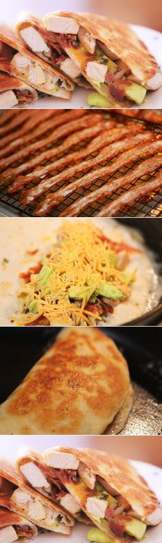 Cheesy Chicken, Bacon and Avocado Quesadillas - I tried the tortilla wrap version of this, though. when I grilled them as quesadillas, there wasn't enough room and I got them too messy (like, cheese falling out and such). THESE ARE DELICIOUS! Think Food, I Love Food, Good Food, Yummy Food, Tasty, Cheesy Chicken, Chicken Bacon, Chicken Recipes, Beef Bacon