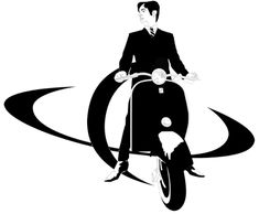 Mod Scientists Logo (A mod on a bike with a planet in the background)