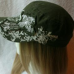 Army green Hat with Cross on hat Nice baseball hat with white detail design of a cross.  Gently used in good condition. Accessories Hats