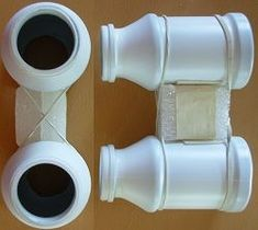 made from plastic bottles. so much cuter than toilet paper rolls. for display, or costume . Binocular Craft, Small Plastic Bottles, Diy For Kids, Crafts For Kids, Binoculars For Kids, Vbs Crafts, Toilet Paper Roll, Recycled Crafts, Summer Crafts