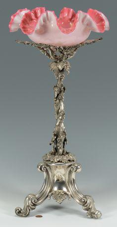 Victorian Centerpiece Silver glass basket.