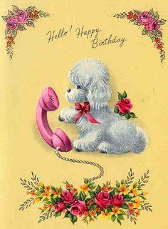 Vintage birthday cards Doggie phone style