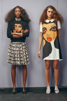 Peter Jensen SS2014 get cute kawaii and quirky for spring summer 2014 with these great face print mod style skater dress and skirt