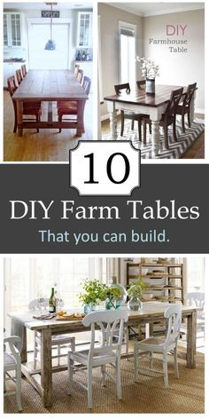 10 DIY:: Beautiful Budget Farmhouse Table Tutorials !!