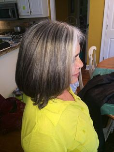 For my greying clients that are not wanting to fully cover their grey and don't want to come every weeks I put Demi and permanent lowlights so they can come about every 8 weeks instead without the harsh grow out. Silver Haired Beauties, Gray Hair Highlights, Long Gray Hair, Grey Hair, Gray Hair Growing Out, Transition To Gray Hair, Hair Color And Cut, Permanent Hair Color, Good Hair Day
