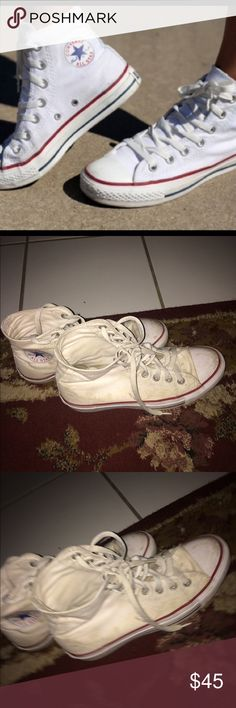 2nd pair of White High-Top Converse Will wash before shipped!                                                                                  -I do trades                                                                                                                    -Authentic Shoes Sneakers