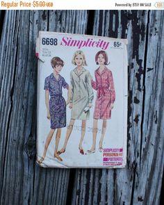25% Spring Sale Simplicity 6698 1960s 60s Sheath Shirtwaist Dress Vintage Sewing Pattern Size 14 Bust 34