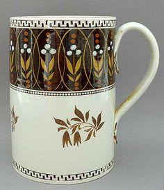 Large antique Porter mug - British 19th century pottery ,Staffordshire