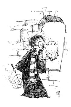 Harry Potter and Hedwig Sketch from Skottie Young - News - GeekTyrant