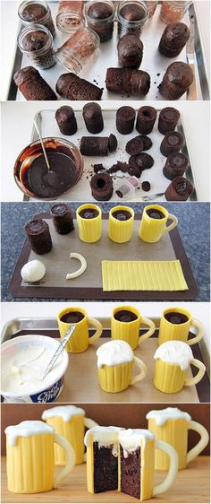 Chocolate Beer Mug Cakes.. oh the guys at work would love these! Too bad lol