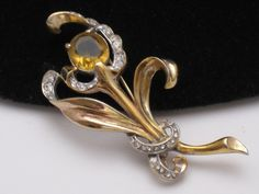 Vintage REJA STERLING Brooch Pin Vermeil Amber Rhinestone 1940's  http://www.ebay.com/itm/Vintage-REJA-STERLING-Brooch-Pin-Vermeil-Amber-Rhinestone-1940s-/360470617244?pt=Vintage_Costume_Jewelry=item53edb91c9c#