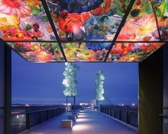 Bridge in Tacoma with glass by Chihuly