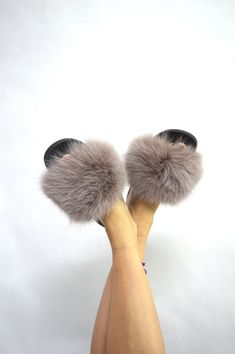 7d0ad257d Real Fur Slides, taupe fox rubber Fur slippon, fur flip flop, fluffy fur  shoes , fur pool sliders, genuine fox fur slippers, real fur pelt