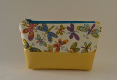 Handmade fabric/faux leather cosmetic bag Pencil Case Make Up Bag Butterfly