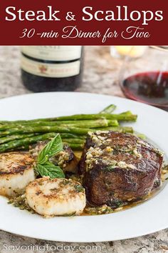 "Skip the crowded restaurants and make this Scampi-Style Steak & Scallops recipe for a romantic dinner at home. Ready in about 30 minutes and every bites says, ""You're worth it."" dinner menu Scampi-Style Steak & Scallop Recipe: Date Night Dinner for Two Romantic Dinner For Two, Romantic Dinner Recipes, Romantic Dinners, Recipes Dinner, Romantic Evening, Valentines Dinner Recipes, Appetizer Recipes, Dinner Ideas, Romantic Table"