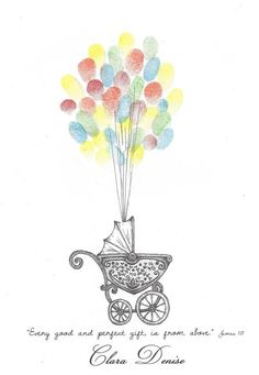 Baby Carriage being lifted by Balloons Fingerprint Guestbook, Special Delivery, Stroller, Shower, Pa Baby Showers, Free Pen, Fingerprint Tree, Shabby Chic Baby Shower, Baby Carriage, Printable Designs, The Balloon, Craft Stores, Crafts For Kids